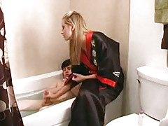 Tied Her Boy Friend In The Bath