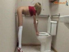 Bored Teen Fucking The Toilet Wall